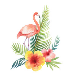 watercolor card tropical leaves and the vector image