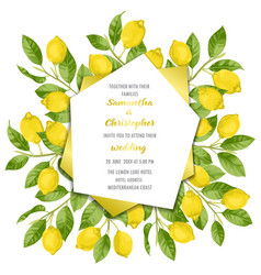 Wedding invitation card with lemon brunches vector