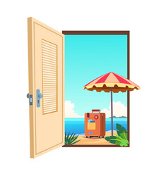 welcome to beach cartoon template vector image