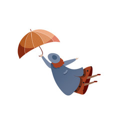 Woman flying with umbrella windy weather autumn vector