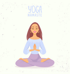 Yoga girl lotus vector