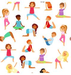 yoga kids seamless pattern girls and boys do vector image