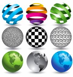 9 globes in editable format vector image vector image