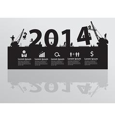 Construction site crane building 2014 text vector image