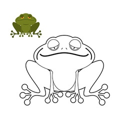 Frog coloring book Funny amphibious reptile Animal vector image
