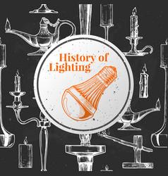 History of lighting vector