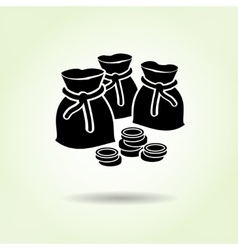 Money icon Sacks of coins Currency symbol Black vector image