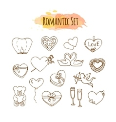 Romantic Hand drawn wedding set vector image