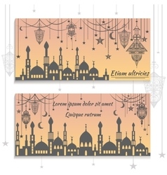 Set ethnic greeting cards invitations with the vector image vector image