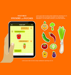 Vegetables love stickers on chat application vector