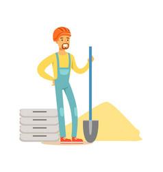 construction worker wearing orange helmet and work vector image