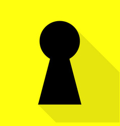 keyhole sign black icon with flat vector image vector image