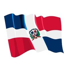political waving flag of dominican republic vector image vector image