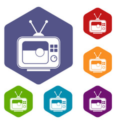 soccer match on tv icons set hexagon vector image vector image
