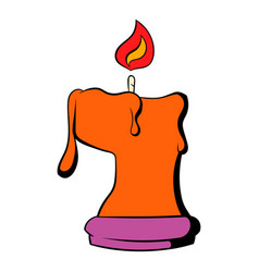 burning candle icon cartoon vector image vector image