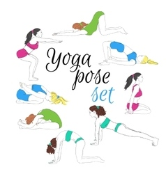 Colored yoga poses set hand-drawn image vector image vector image