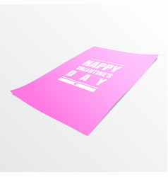 happy valentines day on pink paper realistic 3d vector image vector image