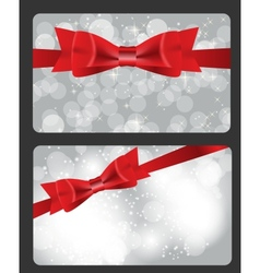 Holiday gift cards with red bow ribbon and place vector image vector image