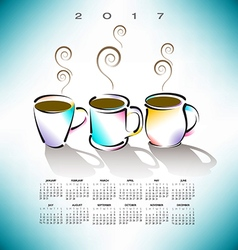 2017 Cal 3 Coffee Cups vector image