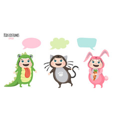 children in costumes communicate vector image