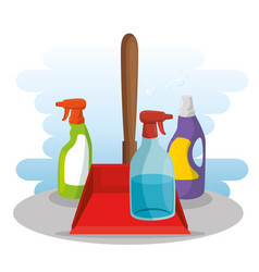 cleaning supplies with spray soap dustpan vector image