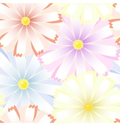 Colored art camomiles seamless pattern vector image