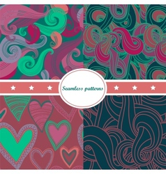 Colorful set of abstract seamless backgrounds vector image