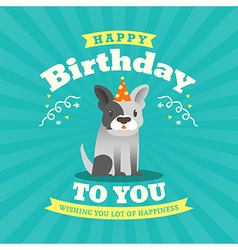 Cute bulldog Cartoon Birthday card background vector image vector image