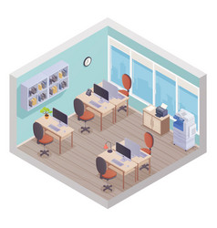 isometric office interior vector image