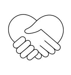 Linear heart made of hands icon vector image