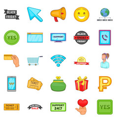 online store icons set cartoon style vector image vector image