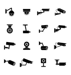 set of icons of security camera vector image vector image