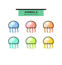 Set of jellyfish in flat style with strokes vector image vector image