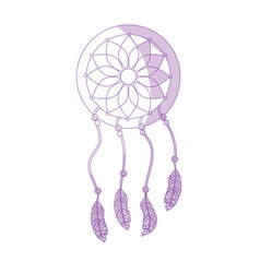 silhouette beauty dream catcher with feathers vector image vector image