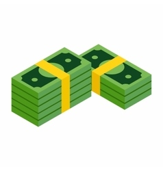 Stacks of dollars isometric 3d icon vector image