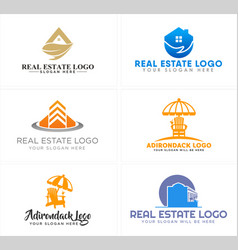 A set of real estate home building and adirondack vector