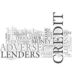 Adverse credit loans the facts text word cloud vector