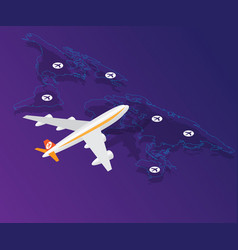 airplane with location on world map isometric vector image