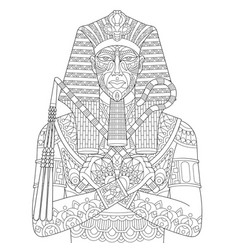 Ancient egyptian pharaoh adult coloring page vector