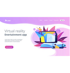 augmented reality books concept landing page vector image