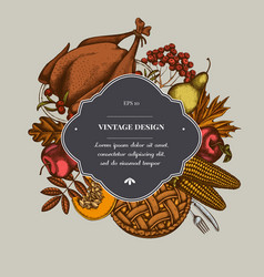 badge over design with pumpkin fork knife pears vector image