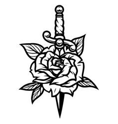 Beautiful rose pierced with dagger vector