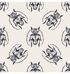 Beetles vintage seamless pattern vector image