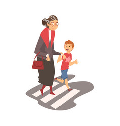 boy helping old senior woman to cross road polite vector image