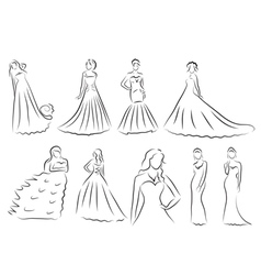 Bride Silhouette set Sketch bride the bride in a vector image