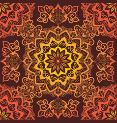 bright orange mandala pattern ornament on red vector image