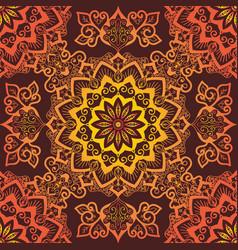 bright orange mandala pattern ornament on red vector image