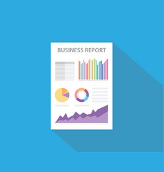 business report with paper document and graph and vector image