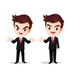 Businessman standing hand up present vector