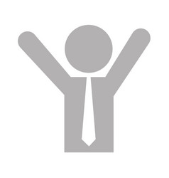 Businessman with hands up silhouette vector